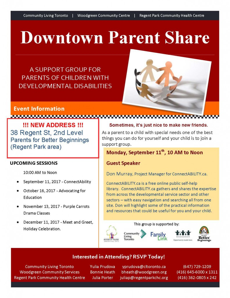 Downtown Parent Share Flyer -Fall 2017