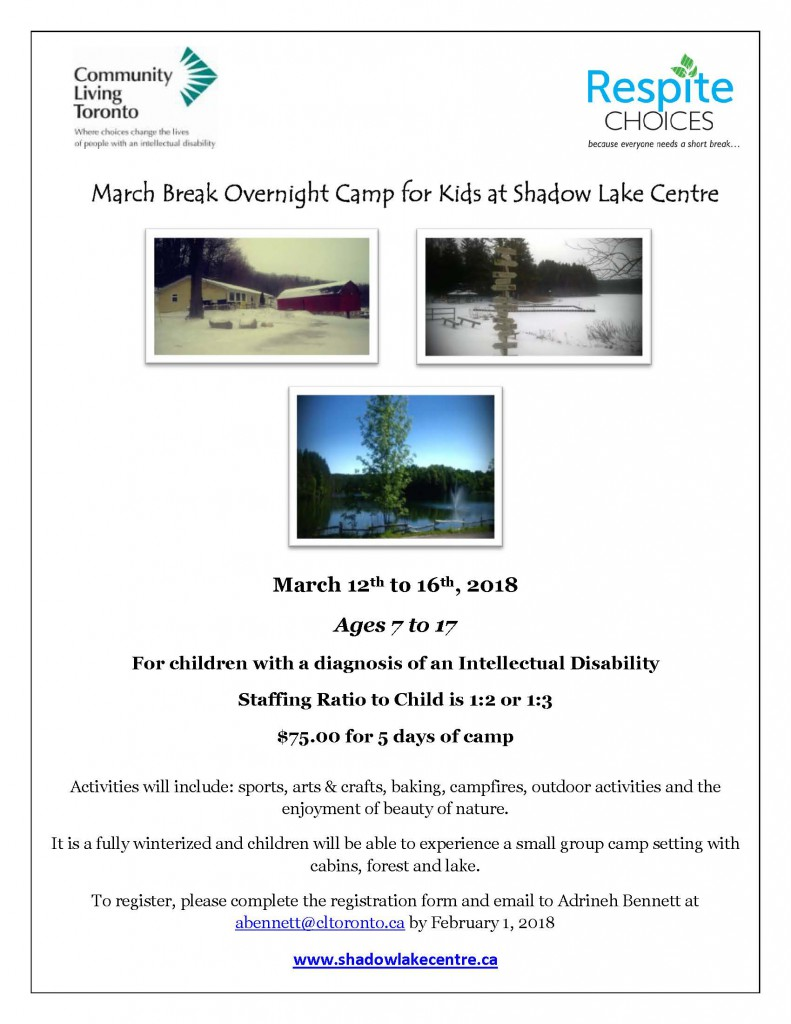 Shadow Lake Centre March Break Camp 2018