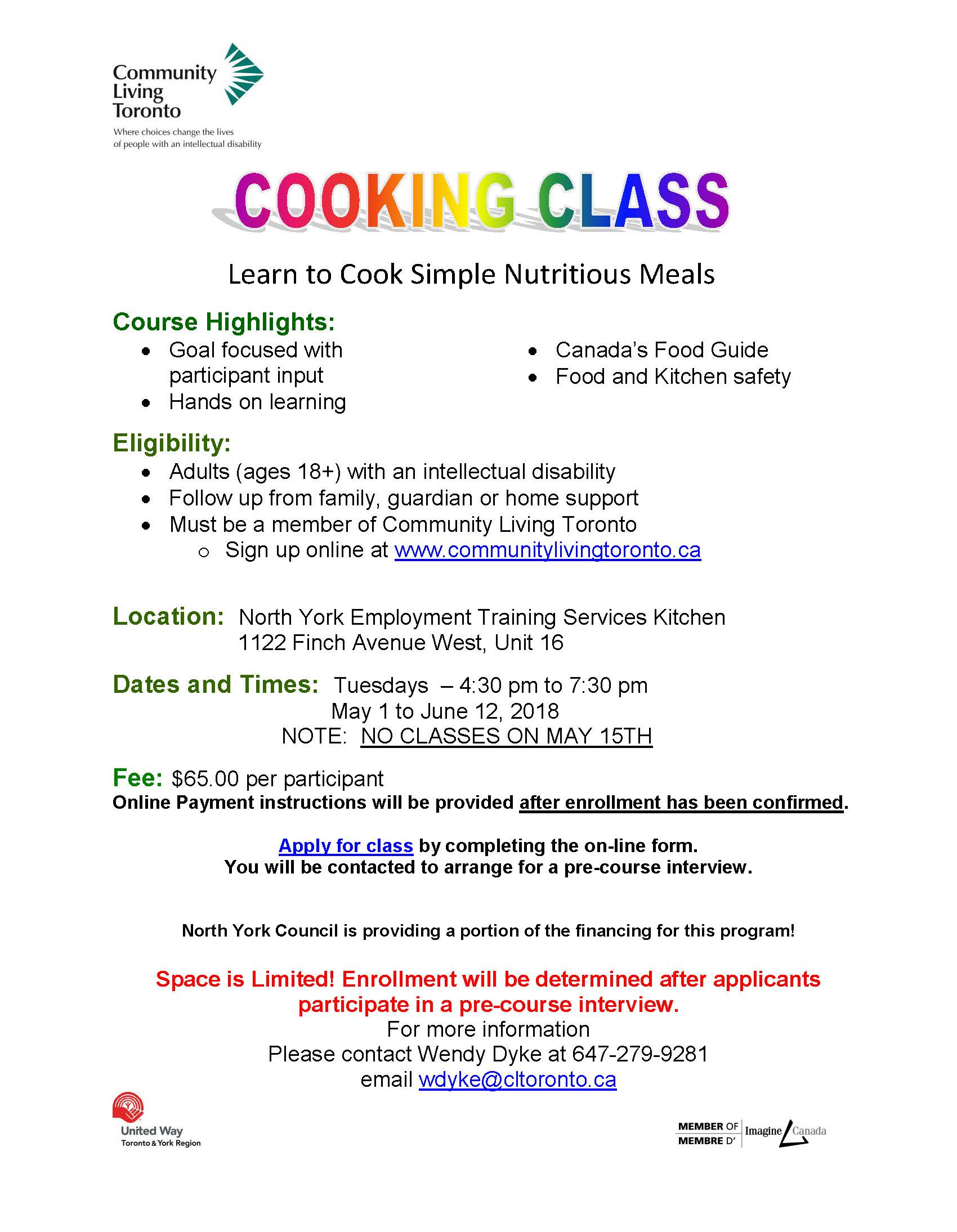 FLYER FOR COOKING CLASS Spring 2018 final