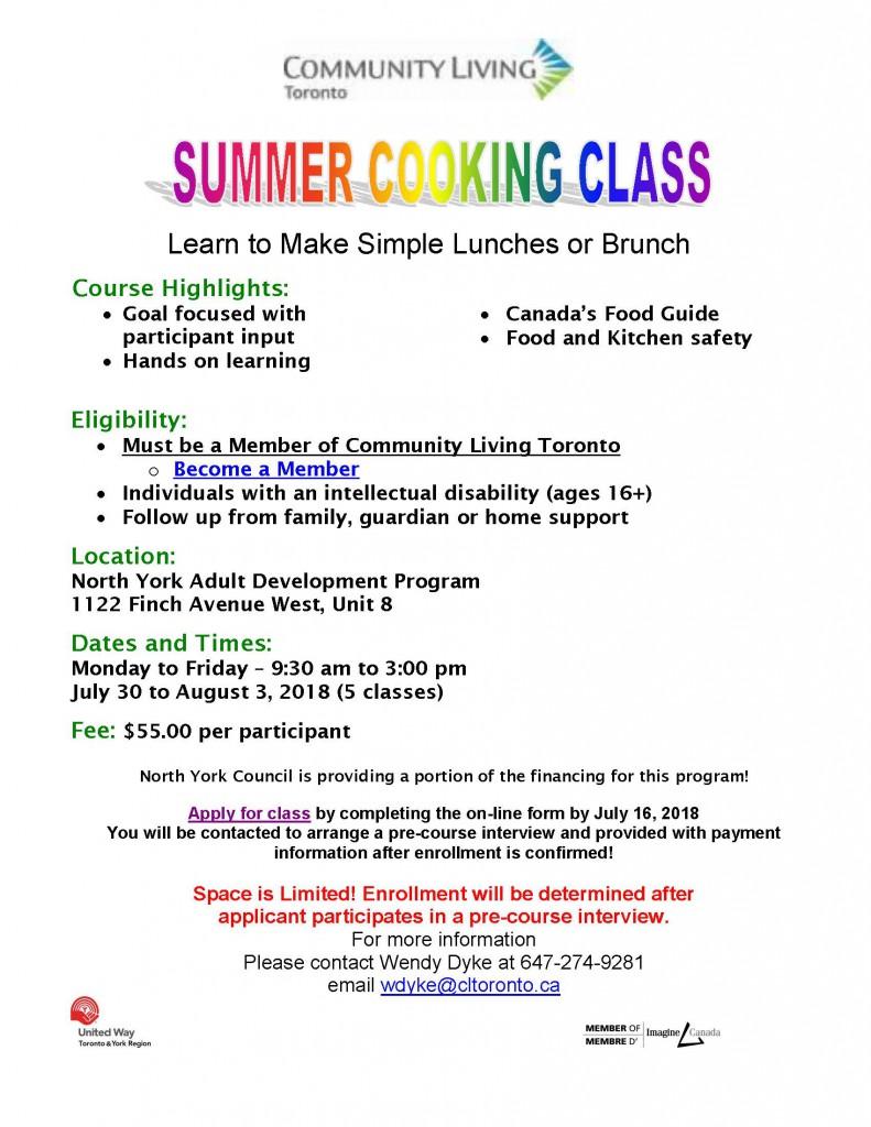 SUMMER COOKING CLASS 2018