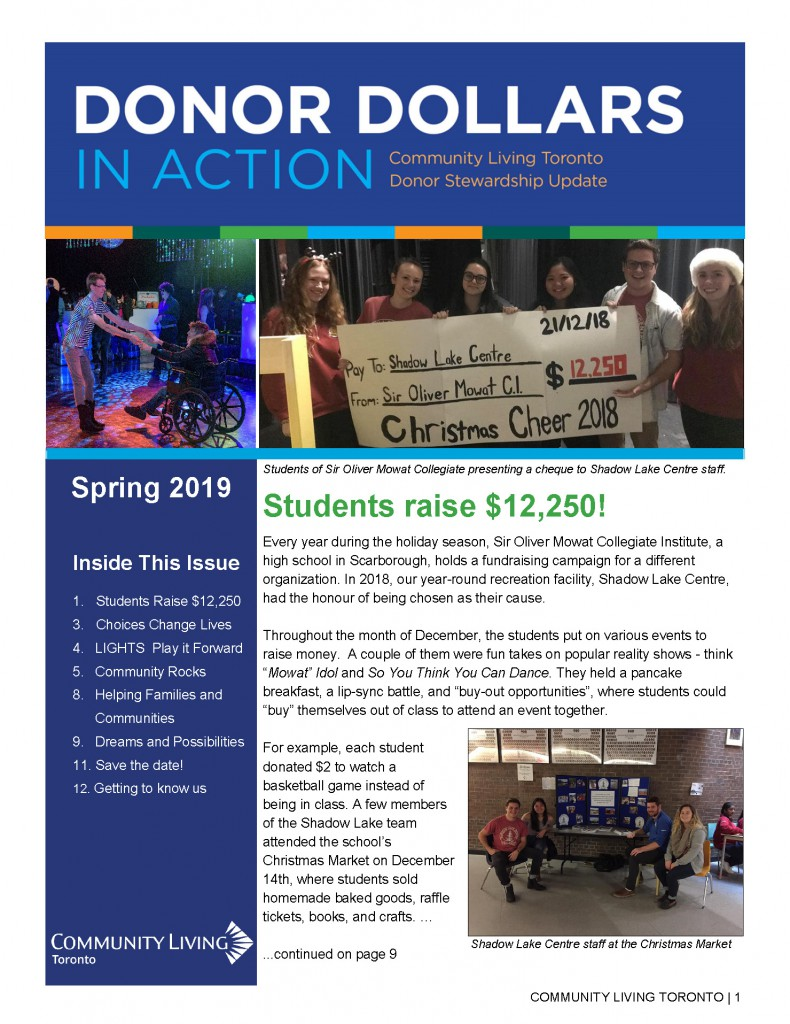 Donor Dollars front page