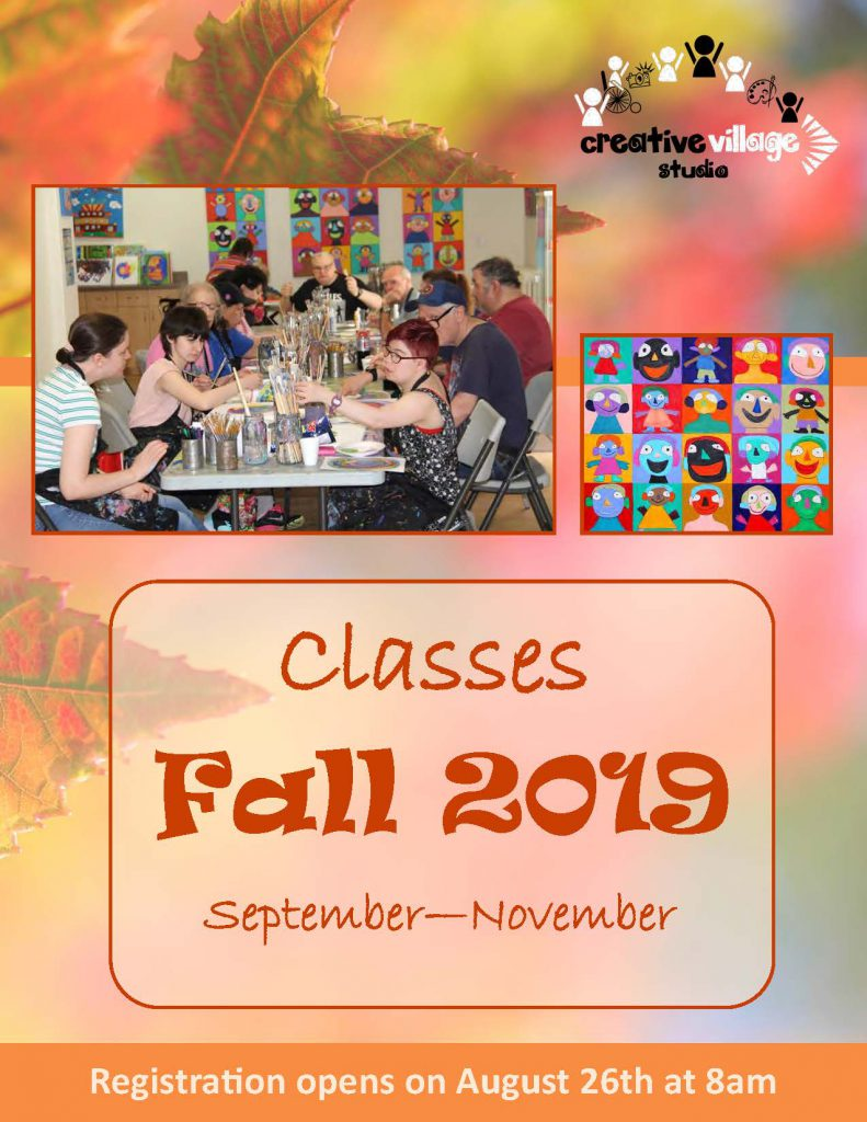 The front cover of the Fall brochure. Fall leaves in the background. A photo of artists around a big table working on their creations.