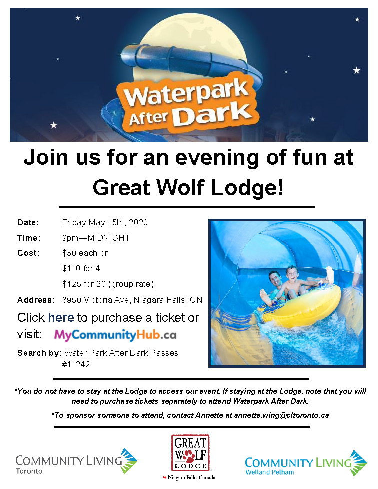 Join is for an evening of fun at Great Wolf Lodge! Click on the PDF below this image for more info.